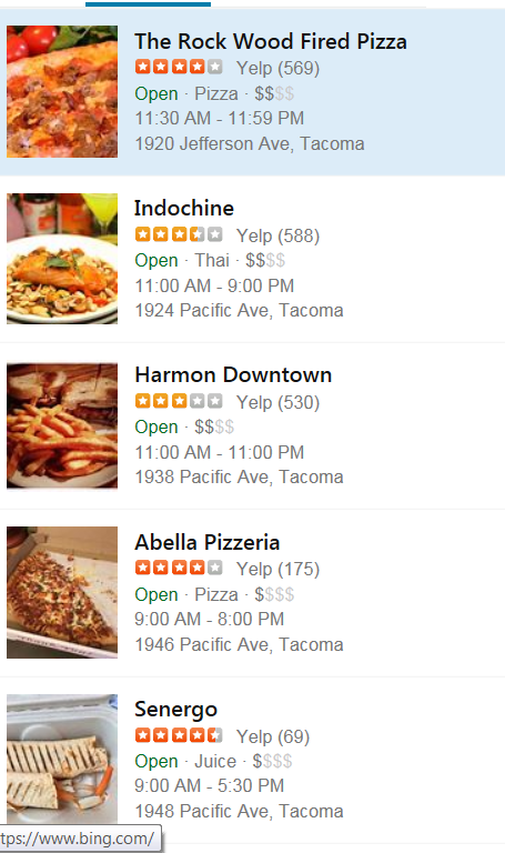 Restaurants in the area on Yelp